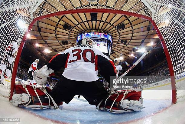 Andrew Hammond of the Ottawa Senators tends net against the New York Rangers en route to a 30 shut out at Madison Square Garden on April 9 2015 in...