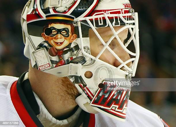 Andrew Hammond of the Ottawa Senators tends net against the New York Rangers at Madison Square Garden on April 9 2015 in New York City The Senators...