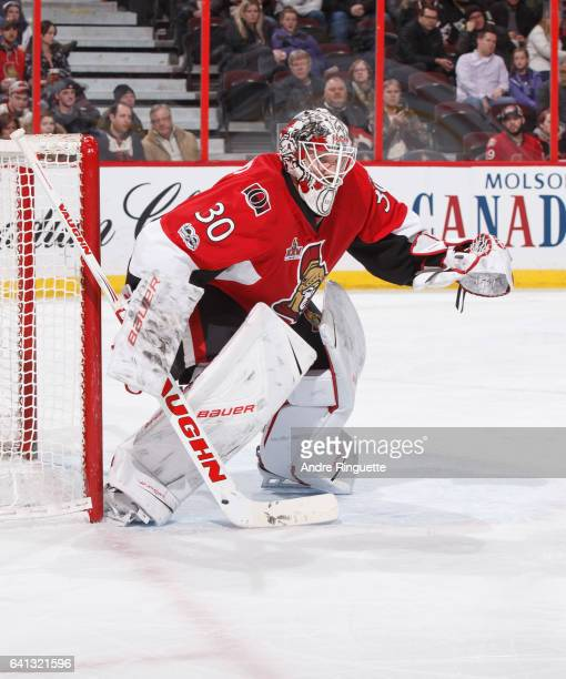 Andrew Hammond of the Ottawa Senators tends net against the St Louis Blues at Canadian Tire Centre on February 7 2017 in Ottawa Ontario Canada