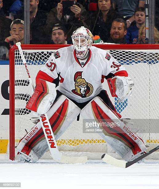 Andrew Hammond of the Ottawa Senators tends the net against the New York Rangers at Madison Square Garden on April 9 2015 in New York City The Ottawa...