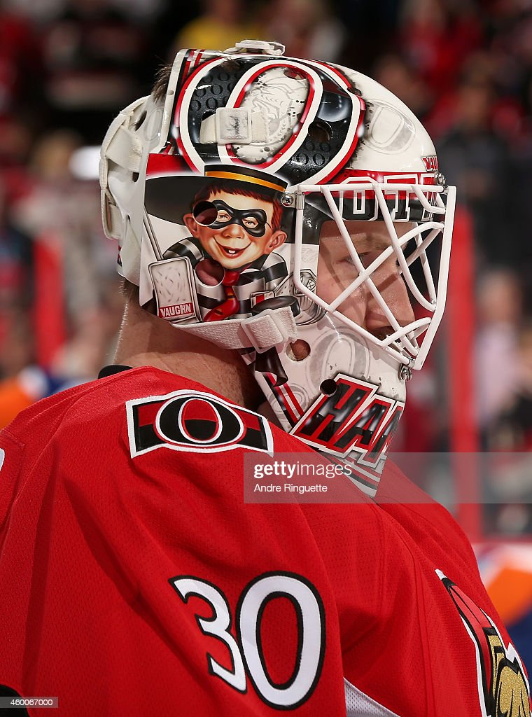 Andrew Hammond #30 of the Ottawa Senators warms up prior to a game against the New York Islanders at Canadian Tire Centre on December 4, 2014 in Ottawa, Ontario, Canada.