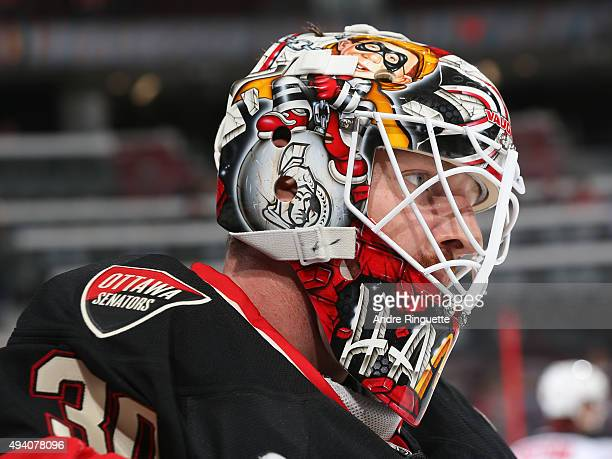 Andrew Hammond of the Ottawa Senators warms up prior to a game against the New Jersey Devils at Canadian Tire Centre on October 22 2015 in Ottawa...