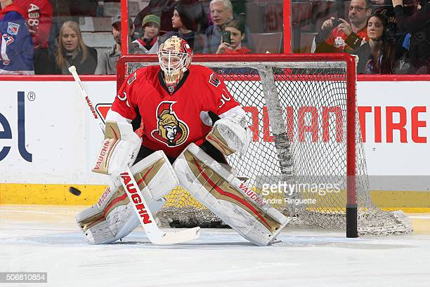 Andrew Hammond of the Ottawa Senators warms up prior to a game against the New York Islanders at Canadian Tire Centre on January 22 2016 in Ottawa...