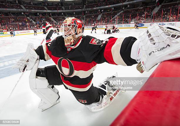 Andrew Hammond of the Ottawa Senators warms up prior to a game against the Florida Panthers at Canadian Tire Centre on April 7 2016 in Ottawa Ontario...