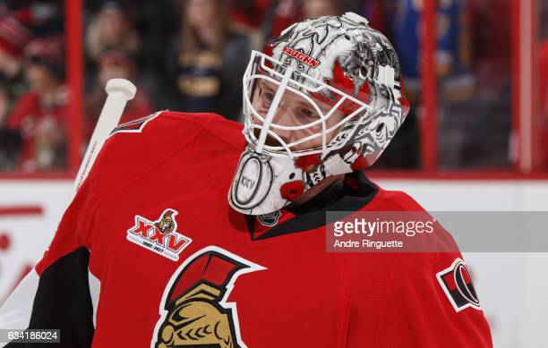 Andrew Hammond of the Ottawa Senators warms up prior to his start against the St Louis Blues at Canadian Tire Centre on February 7 2017 in Ottawa...
