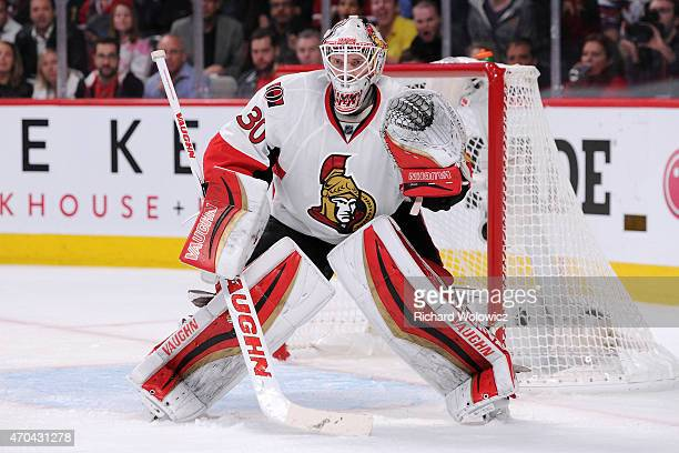 Andrew Hammond of the Ottawa Senators watches play during Game Two of the Eastern Conference Quarterfinals of the 2015 NHL Stanley Cup Playoffs at...
