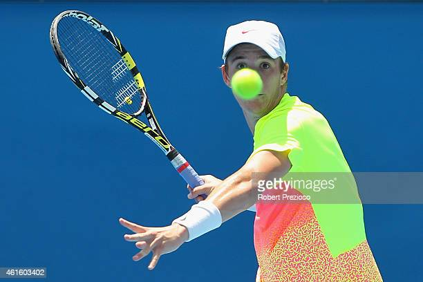 Andrew Harris of Australia plays a forehand in his qualifying match against Andreas Beck of Germany for 2015 Australian Open at Melbourne Park on...