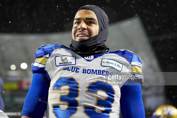 Andrew Harris of the Winnipeg Blue Bombers on the sideline at the end of the western semi final game between the Winnipeg Blue Bombers and...
