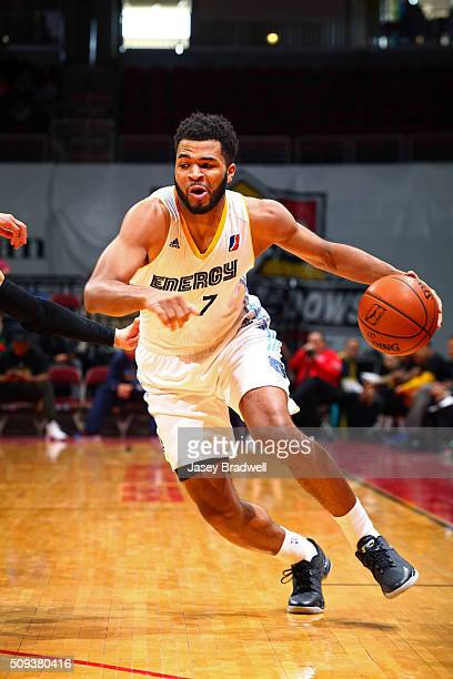 Andrew Harrison of the Iowa Energy drives to the basket against the Westchester Knicks in an NBA DLeague game on February 9 2016 at the Wells Fargo...