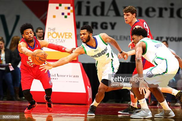 Andrew Harrison of the Iowa Energy goes after a loose ball against Gary Talton of the Grand Rapids Drive in an NBA DLeague game on January 15 2016 at...