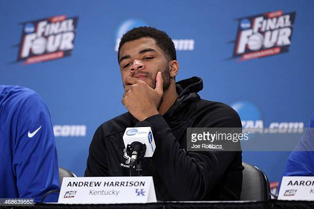 Andrew Harrison of the Kentucky Wildcats reacts in the post game press conference after being defeated by the Wisconsin Badgers during the NCAA Men's...