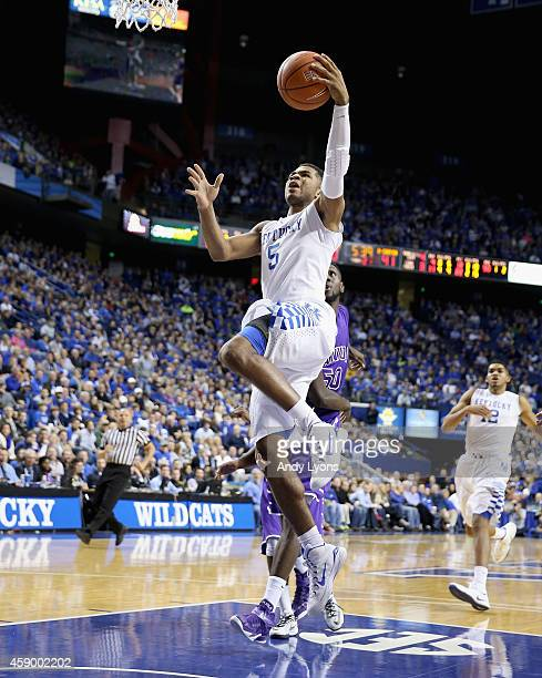 Andrew Harrison of the Kentucky Wildcats shoots the ball during the game against the Grand Canyon Antelopes at Rupp Arena on November 14 2014 in...