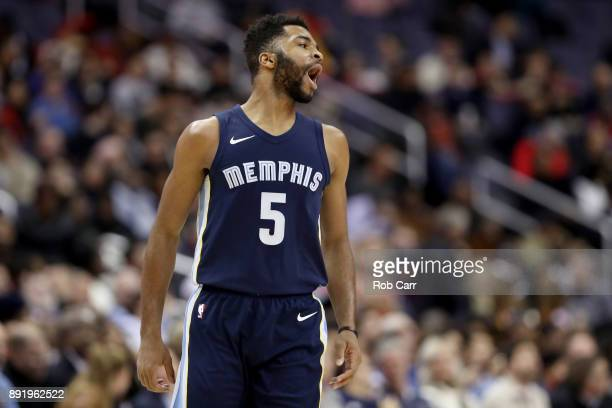 Andrew Harrison of the Memphis Grizzlies celebrates after hitting a three pointer against the Washington Wizards at Capital One Arena on December 13...