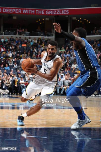 Andrew Harrison of the Memphis Grizzlies drives to the basket against the Orlando Magic on November 1 2017 at FedExForum in Memphis Tennessee NOTE TO...