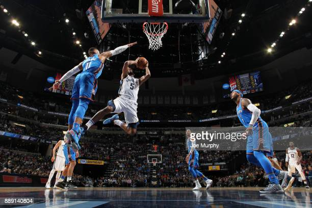 Andrew Harrison of the Memphis Grizzlies goes to the basket against the Oklahoma City Thunder on December 9 2017 at FedExForum in Memphis Tennessee...