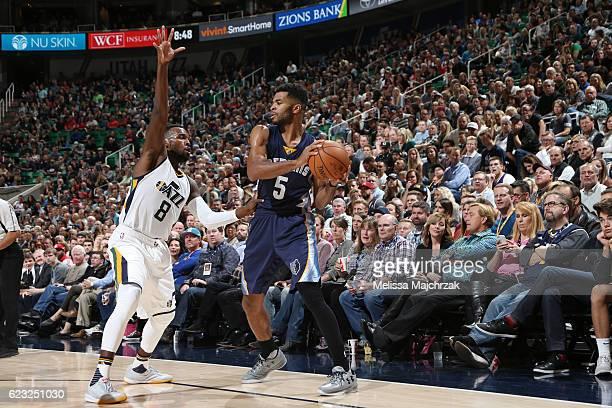 Andrew Harrison of the Memphis Grizzlies handles the ball against Shelvin Mack of the Utah Jazz on November 14 2016 at vivintSmartHome Arena in Salt...