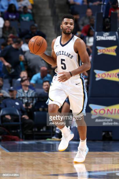 Andrew Harrison of the Memphis Grizzlies handles the ball against the Charlotte Hornets on October 30 2017 at FedExForum in Memphis Tennessee NOTE TO...