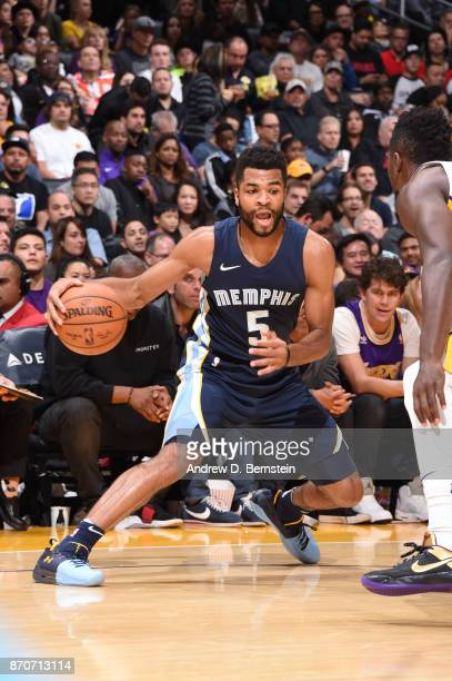 Andrew Harrison of the Memphis Grizzlies handles the ball against the Los Angeles Lakers on November 5 2017 at STAPLES Center in Los Angeles...