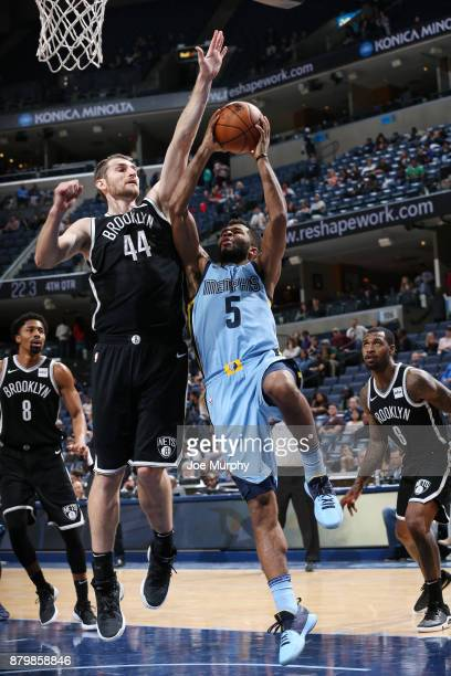 Andrew Harrison of the Memphis Grizzlies handles the ball against the Brooklyn Nets on November 26 2017 at FedExForum in Memphis Tennessee NOTE TO...