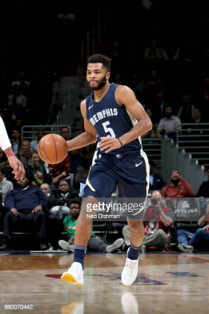 Andrew Harrison of the Memphis Grizzlies handles the ball against the Washington Wizards on December 13 2017 at Capital One Arena in Washington DC...