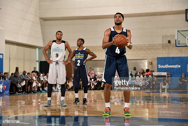 Andrew Harrison of the Memphis Grizzlies shoots against the Charlotte Hornets during the game on July 5 2015 at Amway Center in Orlando Florida NOTE...