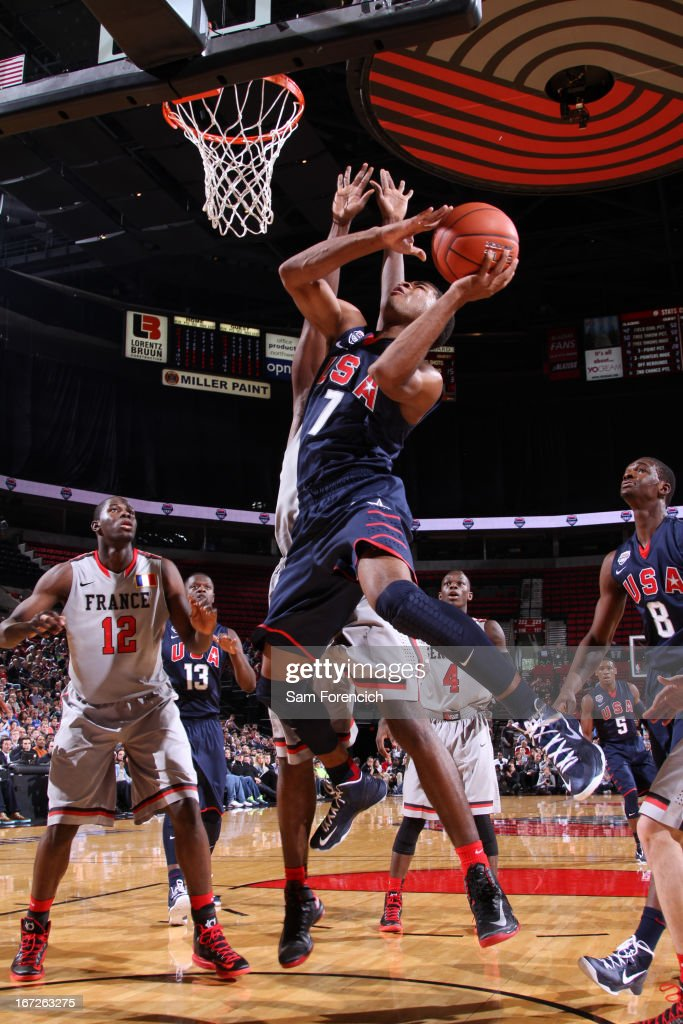 Andrew Harrison #7 of the USA Junior Select Team shoots against the World Select Team during the 2013 Nike Hoop Summit game on April 20, 2013 at the Rose Garden Arena in Portland, Oregon.