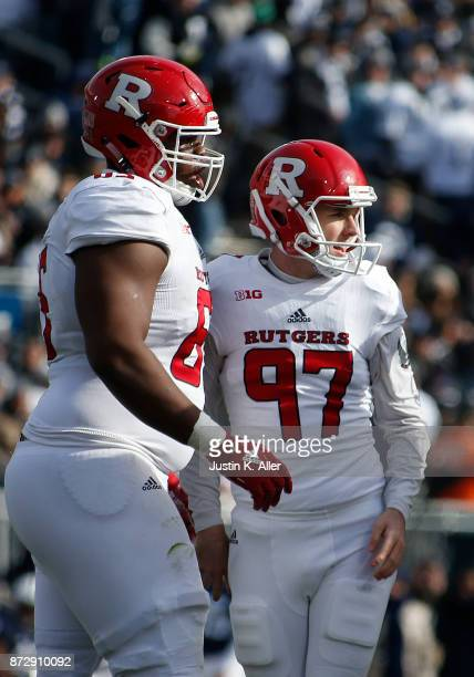 Andrew Harte of the Rutgers Scarlet Knights celebrates after kicking a 25 yard field goal in the second quarter against the Penn State Nittany Lions...