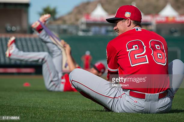 Andrew Heaney of the Los Angeles Angels of Anaheim laughs while stretching during spring training on February 29 2016 at Tempe Diablo Stadium in...