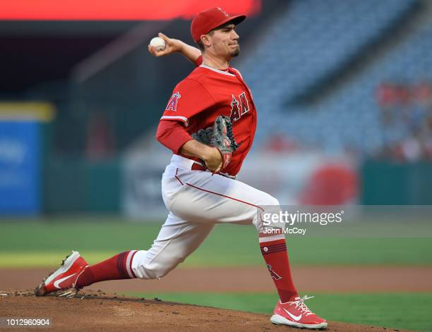 Andrew Heaney of the Los Angeles Angels of Anaheim pitches against the Detroit Tigers in the first inning at Angel Stadium on August 7 2018 in...