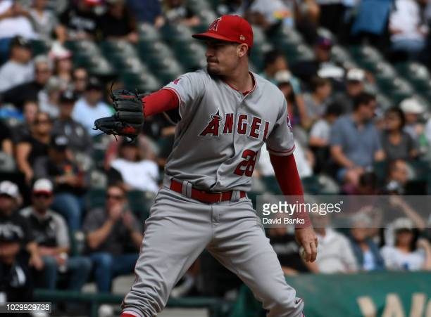 Andrew Heaney of the Los Angeles Angels of Anaheim pitches against the Chicago White Sox during the first inning on September 9 2018 at Guaranteed...