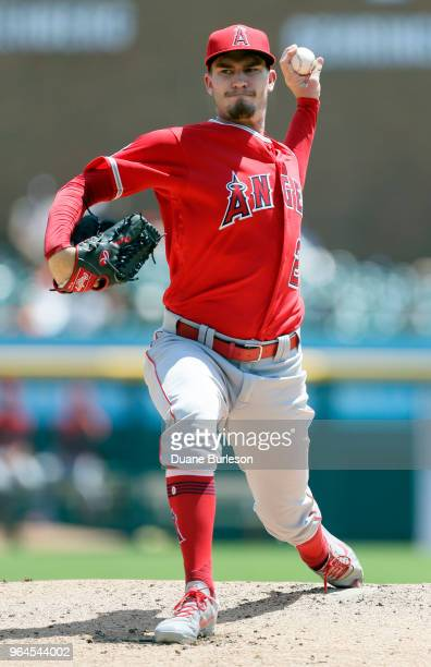 Andrew Heaney of the Los Angeles Angels of Anaheim pitches against the Detroit Tigers during the second inning at Comerica Park on May 31 2018 in...