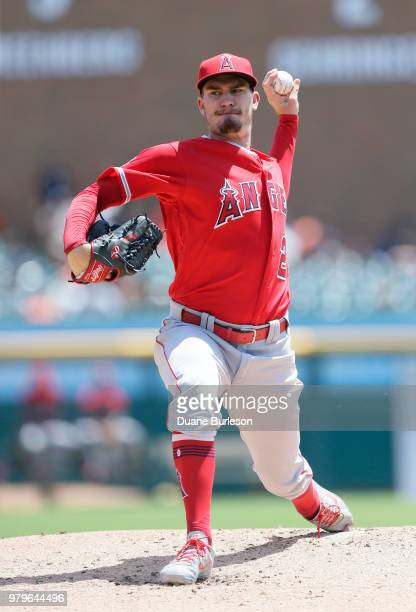 Andrew Heaney of the Los Angeles Angels of Anaheim pitches against the Detroit Tigers at Comerica Park on May 31 2018 in Detroit Michigan