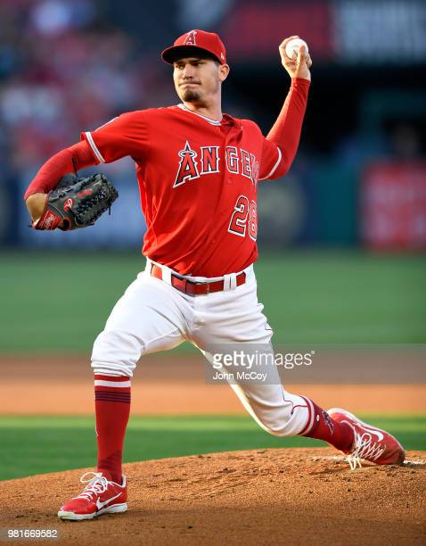 Andrew Heaney of the Los Angeles Angels of Anaheim pitches against the Toronto Blue Jays in the first inning at Angel Stadium on June 22 2018 in...