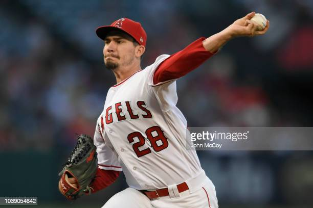Andrew Heaney of the Los Angeles Angels of Anaheim pitches agaisnt the Seattle Mariners at Angel Stadium on September 15 2018 in Anaheim California