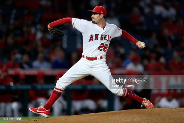 Andrew Heaney of the Los Angeles Angels of Anaheim pitches during the first inning of a game against the Texas Rangers at Angel Stadium on September...