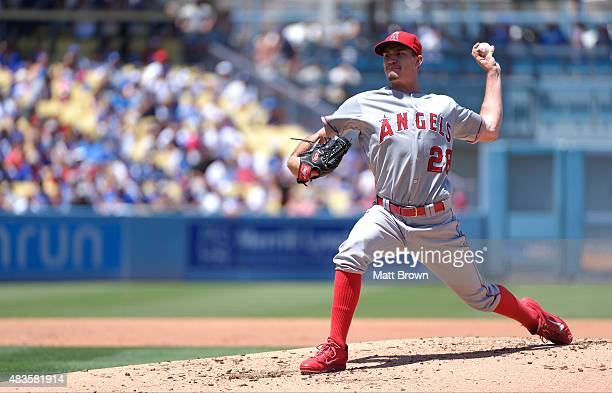 Andrew Heaney of the Los Angeles Angels of Anaheim pitches during the game against the Los Angeles Dodgers at Dodger Stadium on August 1 2015 in Los...