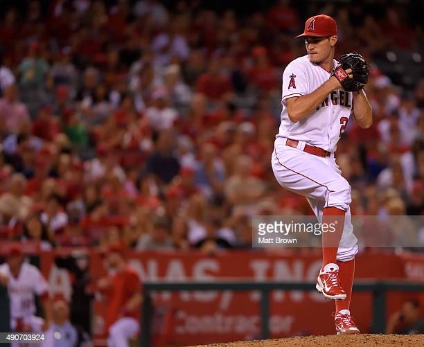 Andrew Heaney of the Los Angeles Angels of Anaheim pitches during the fourth inning of the game against the Seattle Mariners at Angel Stadium of...