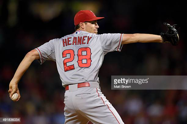 Andrew Heaney of the Los Angeles Angels of Anaheim pitches during the second inning of the game against the Texas Rangers at Globe Life Park in...