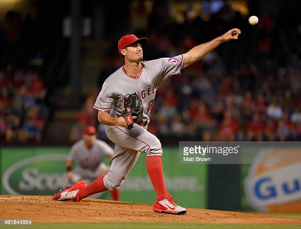 Andrew Heaney of the Los Angeles Angels of Anaheim pitches during the first inning of the game against the Texas Rangers at Globe Life Park in...