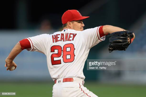 Andrew Heaney of the Los Angeles Angels of Anaheim pitches during the first inning of a game against the Texas Rangers at Angel Stadium of Anaheim on...