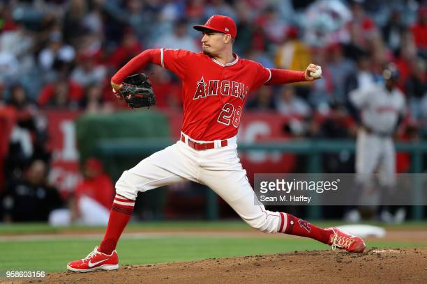 Andrew Heaney of the Los Angeles Angels of Anaheim pitches during the second inning of a game against the Houston Astros at Angel Stadium on May 14...