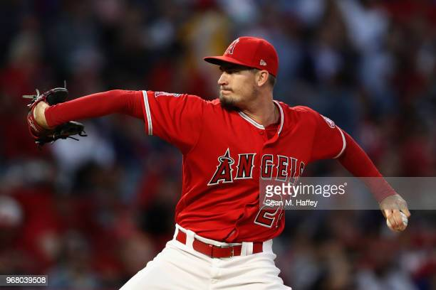 Andrew Heaney of the Los Angeles Angels of Anaheim pitches during the fourth inning of a game against the Kansas City Royals at Angel Stadium on June...