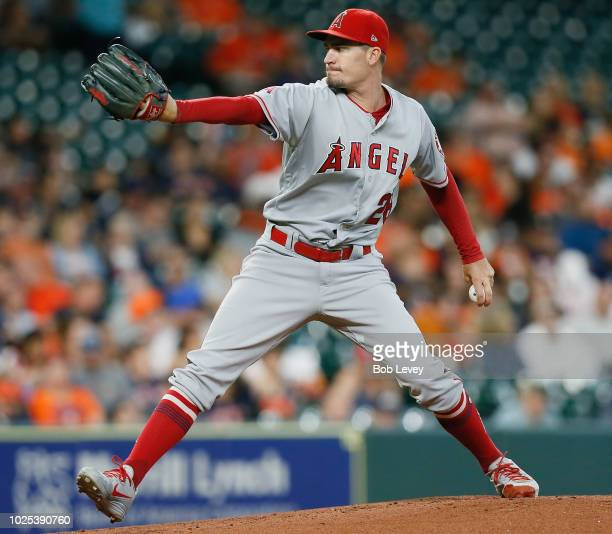 Andrew Heaney of the Los Angeles Angels of Anaheim pitches in the first inning against the Houston Astros at Minute Maid Park on August 30 2018 in...