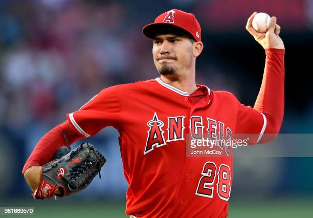 Andrew Heaney of the Los Angeles Angels of Anaheim pitches in the first inning against theToronto Blue Jays at Angel Stadium on June 22 2018 in...