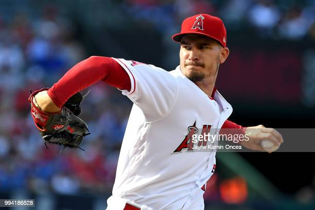 Andrew Heaney of the Los Angeles Angels of Anaheim pitches in the fist inning of the game against the Los Angeles Dodgers at Angel Stadium on July 8...