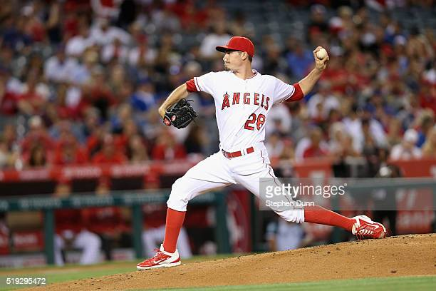 Andrew Heaney of the Los Angeles Angels of Anaheim throws a pitch against the Chicago Cubs in the second inning at Angel Stadium of Anaheim on April...