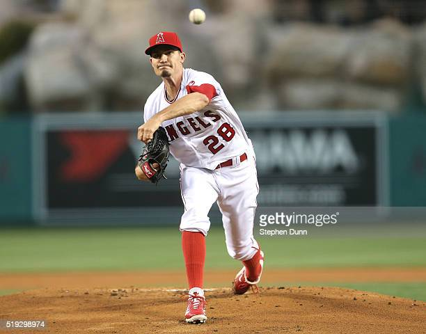 Andrew Heaney of the Los Angeles Angels of Anaheim throws a pitch against the Chicago Cubs in the first inning at Angel Stadium of Anaheim on April 5...