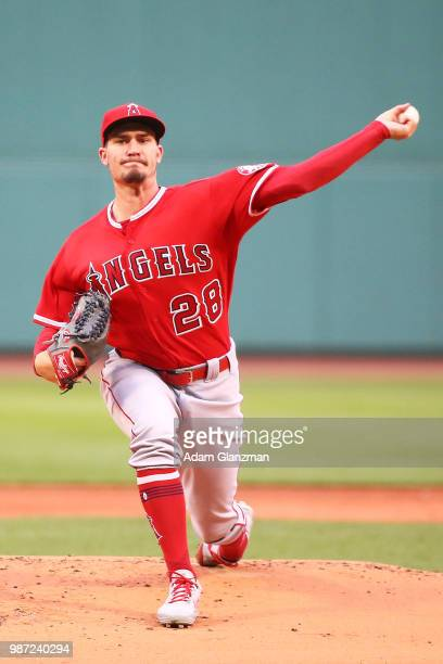 Andrew Heaney of the Los Angeles Angels pirates in the first inning of a game against the Boston Red Sox at Fenway Park on June 27 2018 in Boston...
