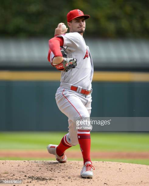 Andrew Heaney of the Los Angeles Angels pitches against the Chicago White Sox on September 23 2018 at Guaranteed Rate Field in Chicago Illinois