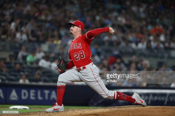 Andrew Heaney of the Los Angeles Angels pitches against the New York Yankees during their game at Yankee Stadium on May 25 2018 in New York City